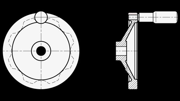 GN 323 Aluminio revestido de polvo negro volantes de disco sólidos, con o sin empuñadura giratoria boceto