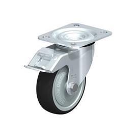 L-PATH Rodajas giratorias con estampado de acero zincado con rueda de caucho gris de servicio medio, con placa de montaje  Type: K-FI-FK