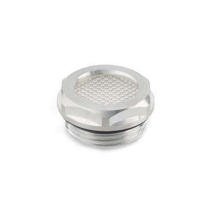 GN 744 Mirillas de nivel de líquido de aluminio, con reflector prismático  Form: A - con efecto prismático (solo d<sub>1</sub> = 14/18/24)