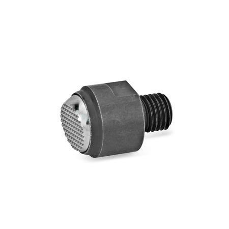 GN 709.1 Almohadillas de sujeción de acero, con vástago roscado Tipo: R - Cara de contacto estriada