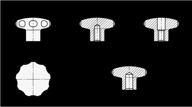 GN 5335.4 Perillas de estrella de acero inoxidable, con orificio roscado o ciego boceto