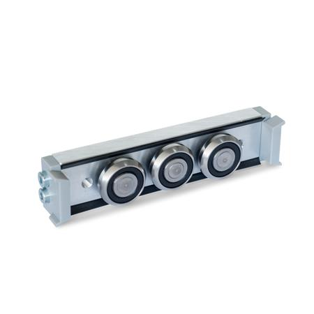 GN 2424 Metric Size, Aluminum or Steel, Cam Roller Carriages, For GN 2422 Cam Roller Guide Rails Type: N - Normal roller carriage, central arrangement<br />Version: U - with wiper for floating bearing rail (U-rail)