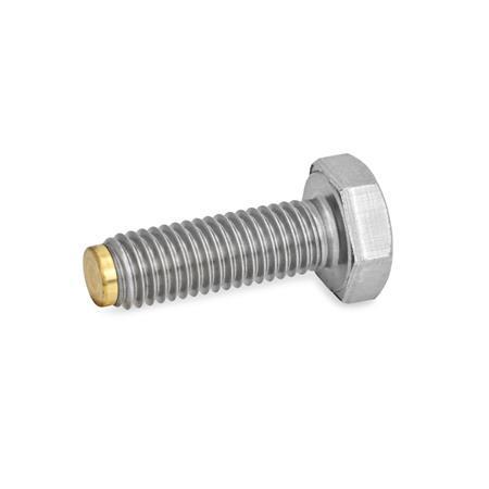 GN 933.5 Stainless Steel Hexagon Head Screws, With Brass Tip, Nylon Tip, or Spherical Pivot Type: MS - Brass pivot