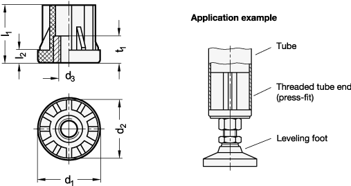 EN 458 Terminales de plástico roscadas para tubos, tipo redondo con inserto moldeado boceto