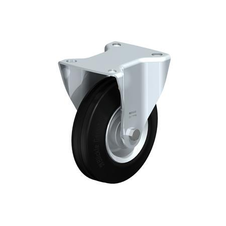 B-RD Steel Medium Duty Black Rubber Wheel Fixed Casters, with Plate Mounting