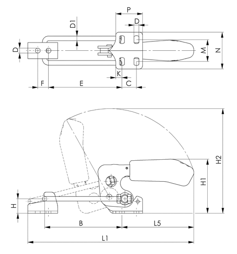 6848-H Stainless Steel Horizontal Acting Latch Type Toggle Clamps sketch
