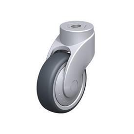 LWG-TPA Rodajas giratorias de nylon plastificado sintético WAVE, con ruedas de caucho termoplástico y ajuste con agujero para perno, componentes de acero Type: G - Cojinete liso