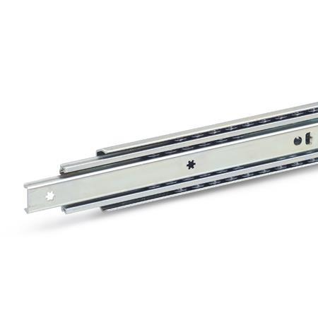 GN 1420 Steel Telescopic Slides, with Full Extension, Load Capacity up to 290 lbf