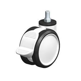 LKDG-PUA Rodajas giratorias con ruedas gemelas de nylon plastificado, con vástago roscado Type: G-RA