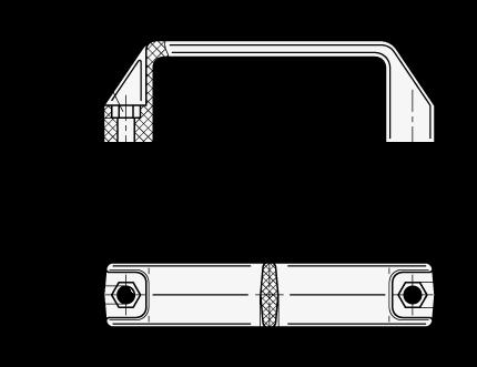 EN 528.3 Jaladeras en «U» para gabinete de plástico tecnopolímero, para montaje con tornillos de cabeza hexagonal boceto