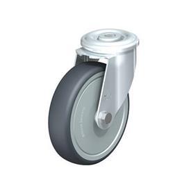 LER-TPA Rodajas giratorias de acero de servicio ligero, ajuste con agujero para perno, ruedas de caucho termoplástico Type: K-FK