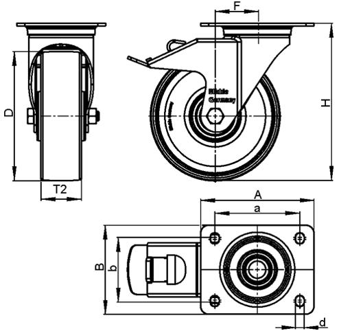 L-RD Rodajas de acero estampado pesado, con ruedas de caucho negro de servicio medio, con placa de montaje boceto