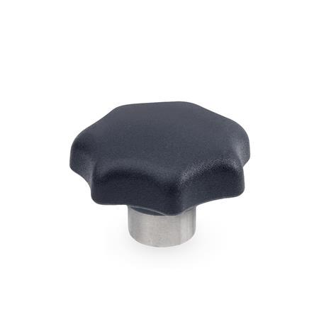 GN 6336.2 Technopolymer Star Knobs, with protruding Stainless Steel hub