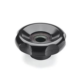 EN 527 Phenolic Plastic, Six-Lobed Control Knobs, Blank, Through Bore or Threaded Through Bore