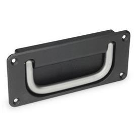 GN 425.8 Jaladeras abatibles con base embutida de acero o acero inoxidable Material de jaladera: NI - Acero inoxidable<br />Acabado de base: SW - Negro, RAL 9005, acabado texturizado
