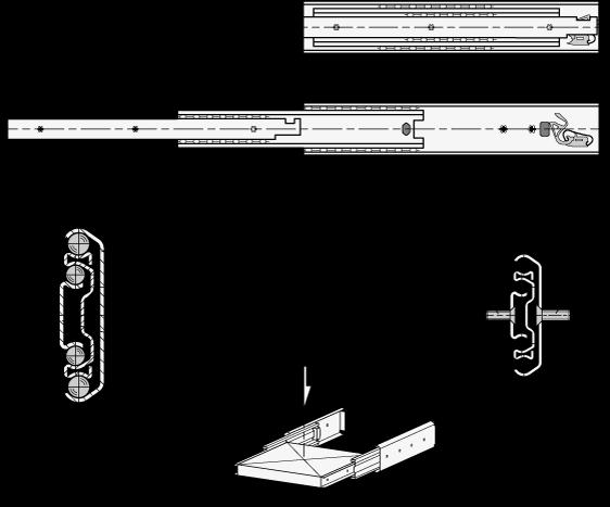 GN 1432 Guías telescópicas de acero, con extensión completa y mecanismo auto-abatible, capacidad de carga de hasta 517 lbf boceto