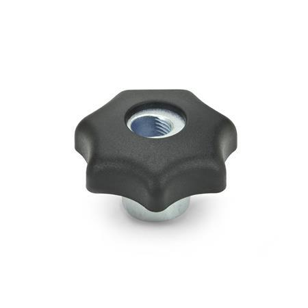 GN 6336.3 Nylon Plastic, Quick Release Star Knobs, with Steel Hub