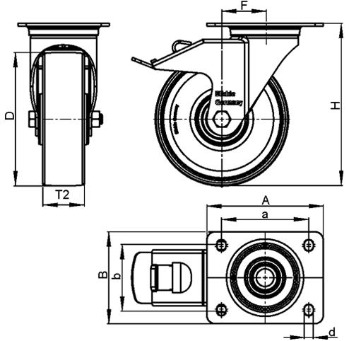 LE-PATH Rodajas giratorias de acero con banda de poliuretano de servicio medio, con placa de montaje boceto