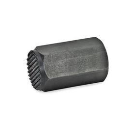 GN 409.2 Elementos de posición de acero, roscados Forma de presión superficial: R - Cara de contacto estriada