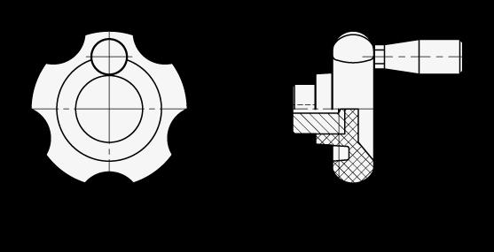 VUM Perillas de control de cinco lóbulos, de plástico fenólico, con empuñadura giratoria boceto