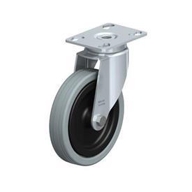 LKPA-VPA Rodajas giratorias de acero zincado con ruedas de caucho gris de servicio medio, serie de soportes pesados  Type: G - Cojinete liso