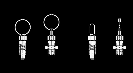 GN 717 Posicionadores de indexado de acero, con anillo de elevación / con bucle de alambre, sin bloqueo boceto