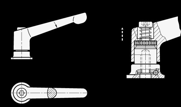 GN 300.4 Manijas ajustables de zinc fundido a presión, con fuerza de sujeción fija, tipo roscadas con componentes de acero boceto