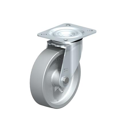 L-G Zinc plated steel Medium Duty Cast Iron Wheel Swivel Casters, with Plate Mounting, Standard Bracket Series  Type: G - Plain Bearing