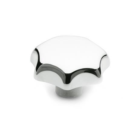 DIN 6336 Perillas de estrella de aluminio, orificios ciegos, orificios ciegos roscados u orificios pasantes roscados Tipo: C - Con orificio ciego liso, tol. H7 Acabado: PL - Pulido
