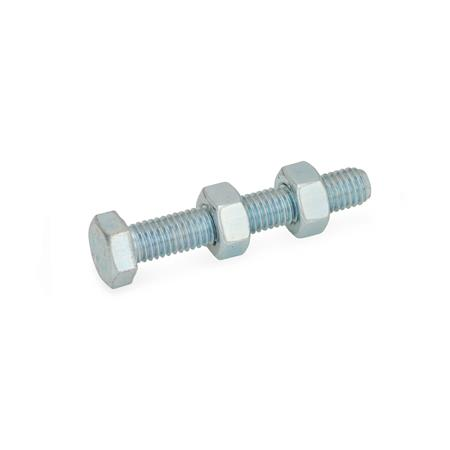 GN 807 Steel Toggle Clamp Spindle Assemblies, with or without Push-On Protective Cap Type: A - without protective cap