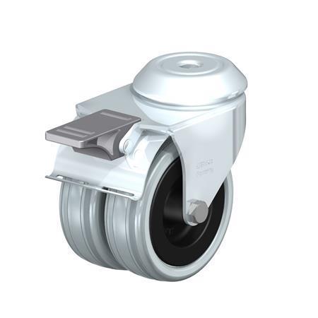 LMDA-VPA Rodajas giratorias de acero de servicio medio con ruedas gemelas de caucho gris, montaje con agujero para perno  Type: G-FI - Cojinete liso con freno «stop-fix»