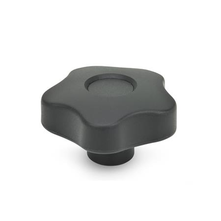 EN 5337.2 Technopolymer Plastic Five Lobed Knobs, Blind Tapped or Plain Blind Bore Types  Type: C - with cap (blind bore H9)