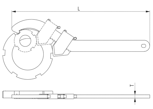 NO.771C  Adjustable Hook Spanners with Nose End sketch