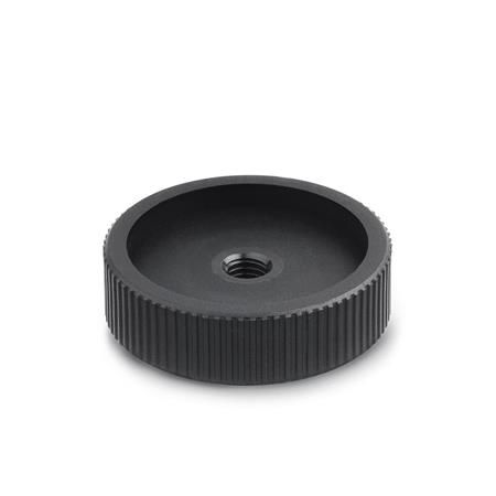 GN 226 Nylon Plastic, Knurled Control Knobs, Blank, Threaded and Through Bore Type