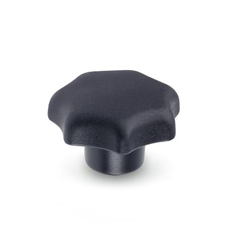 DIN 6336 Plastic Star Knobs, with Steel Tapped Insert or Tapped Through Bore Material: KT - Plastic