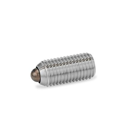 GN 615.4 Steel or Stainless Steel Short Spring Plungers, with nose pin, with Hexagon Socket Drive  Type: BSN - Stainless Steel, high spring load