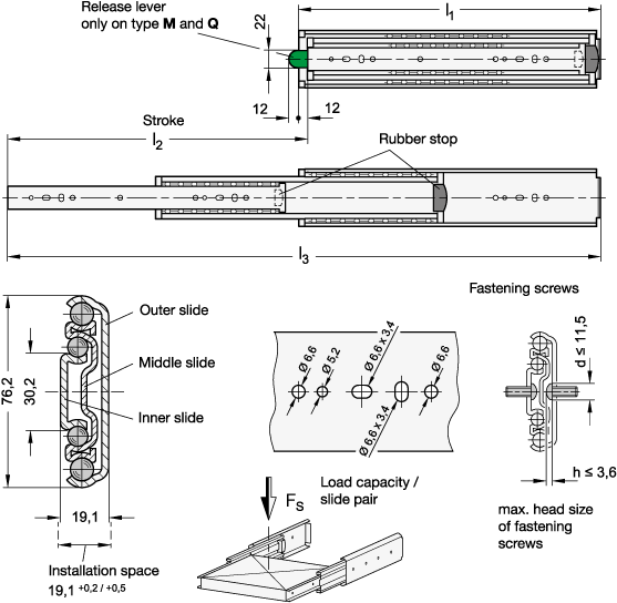 GN 1440 Guías telescópicas de acero, con extensión completa, capacidad de carga de hasta 697 lbf boceto