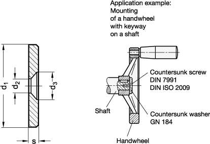 GN 184 Arandelas avellanadas de acero boceto