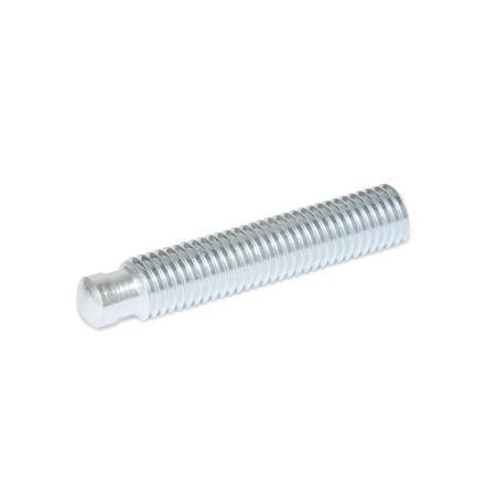 DIN 6332 Steel-Zinc Plated Grub Screws, With Unhardened Tips