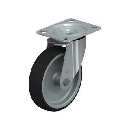 LE-PATH Rodajas giratorias de acero con banda de poliuretano de servicio medio, con placa de montaje Type: G - Cojinete liso