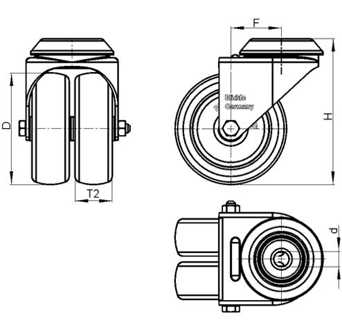 LMDA-POA Rodajas giratorias de acero con ruedas gemelas de nylon negro, montaje con agujero para perno, serie de soportes estándar boceto