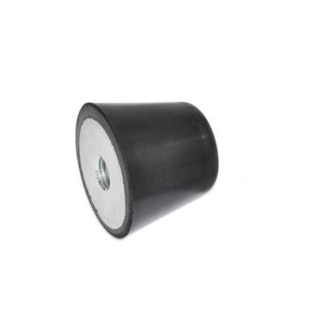 GN 253 Vibration / Shock Absorption Mounts, Conical Type, with Steel Components, Tapped Hole