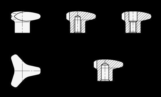 GN 5345 Perillas de tres lóbulos, de acero inoxidable, con agujero roscado ciego, orificio ciego y agujero pasante roscado boceto