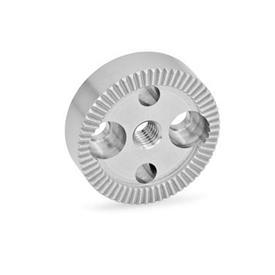 GN 187.4 Placas de bloqueo dentadas de acero inoxidable Tipo: A - con agujero roscado en el centro, con dos agujeros avellanados para tornillos de cabeza