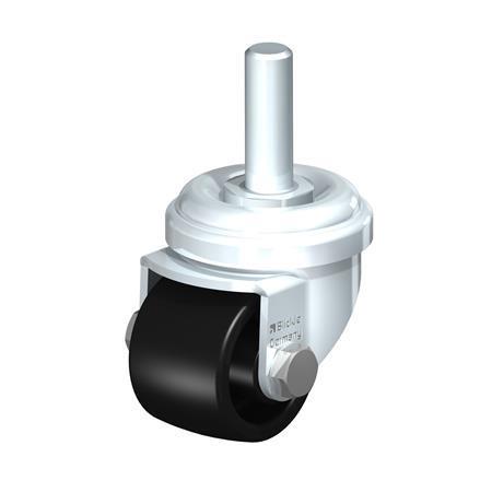 LRA-POA Rodajas giratorias de acero con ruedas de nylon negro,montaje con agujero para perno o vástago roscado, serie de soportes estándar Type: G-GS