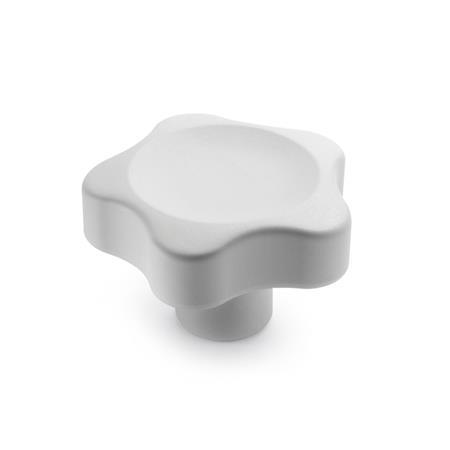 EN 5337.4 Technoplymer Solid Five Lobed Knobs,  Cleanline, with Stainless Steel Tapped Insert