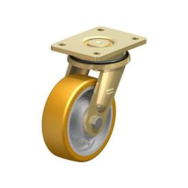 LS-GTH Steel Welded Construction Heavy Duty Extrathane® Treaded Swivel Casters, with Plate Mounting, Extra Strength Swivel Head Design Series Type: K - Ball Bearing