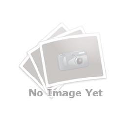 GN 927.4 Manijas de sujeción con leva excéntrica, de zinc fundido a presión, con componentes de acero inoxidable, tipo espárrago roscado Tipo: A - Placa de contacto de plástico con tuerca de ajuste<br />Color: R - Rojo, RAL 3000