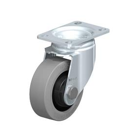 L-POEV Steel Medium Duty Rubber Wheel Swivel Casters, with Plate Mounting Type: K-SG-FK - Ball Bearing with Gray Wheel, with Thread Guard
