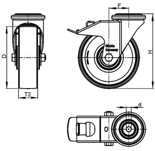 LKRA-POA Rodajas giratorias de acero con rueda de nylon negro, montaje con agujero para perno, serie de soportes de servicio pesado boceto